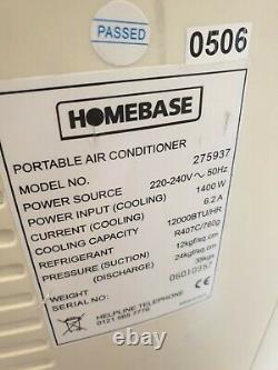 12000 BTU Homebase 275937 Portable Air Conditioner Dual Hose Model