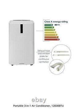 Portable 3-in-1 Air Conditioner, 12000BTU Dehumidifier