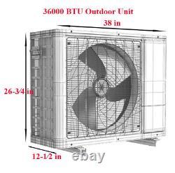 36000 Btu Aux Climatiseur Inverter Thermopompe Sans Canard 230v Wifi 25ft